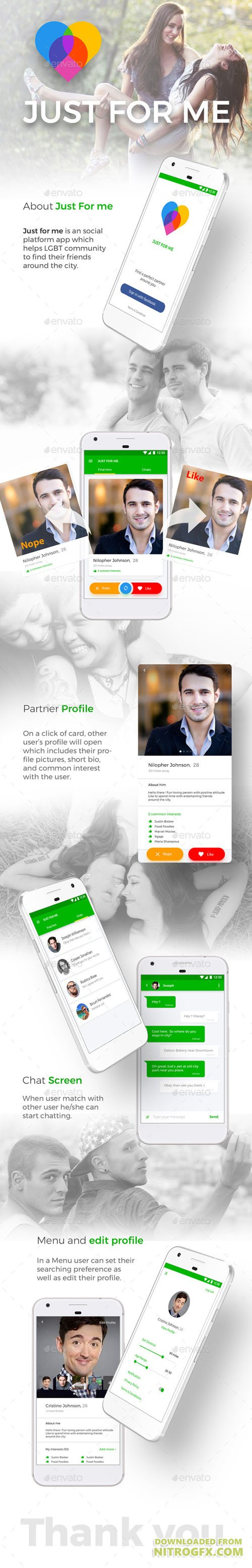 Dating App UI Kit like Tinder | Just For Me for Android + iOS 20712407