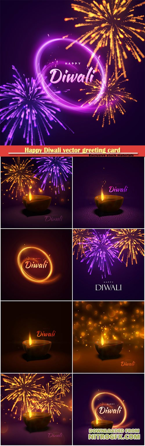 Happy Diwali vector greeting card, indian festival of lights and fire