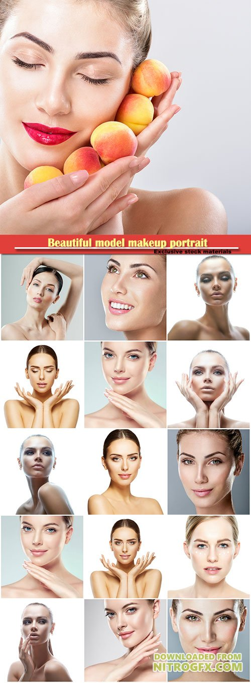 Beautiful model makeup portrait, skin care makeup