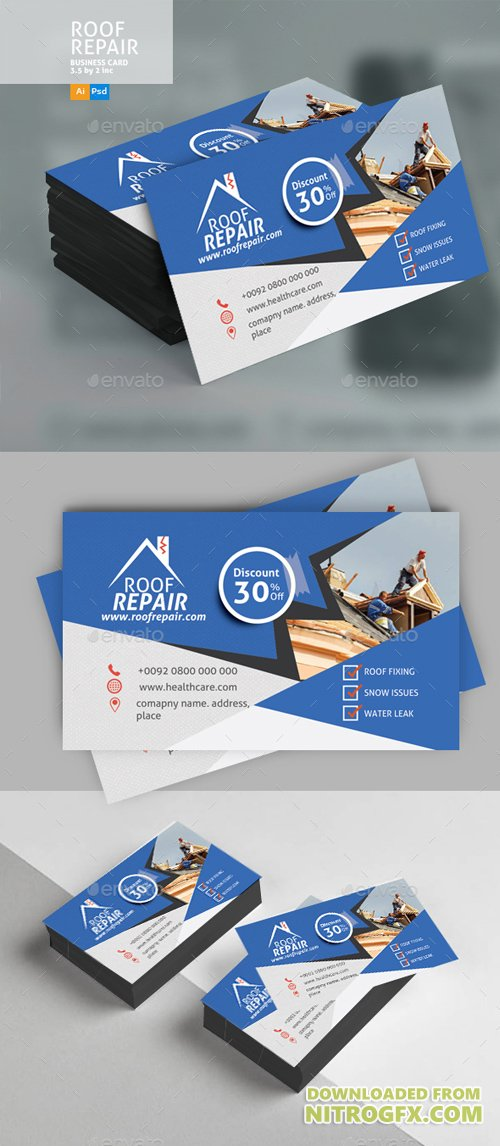 Roof Repair Business Card Design 20773591