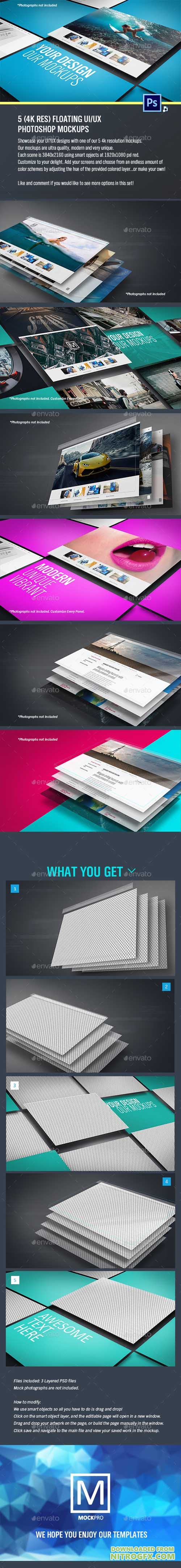 5 Floating UI/UX Photoshop Mockups (4K Res) 20763379