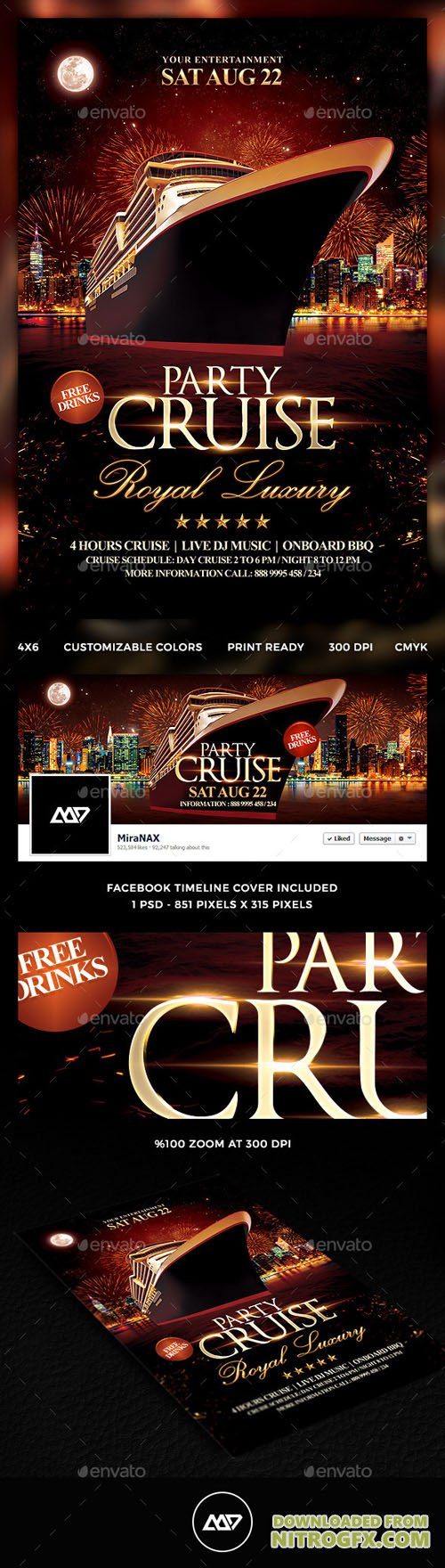 Cruise Party Flyer Template 12121840