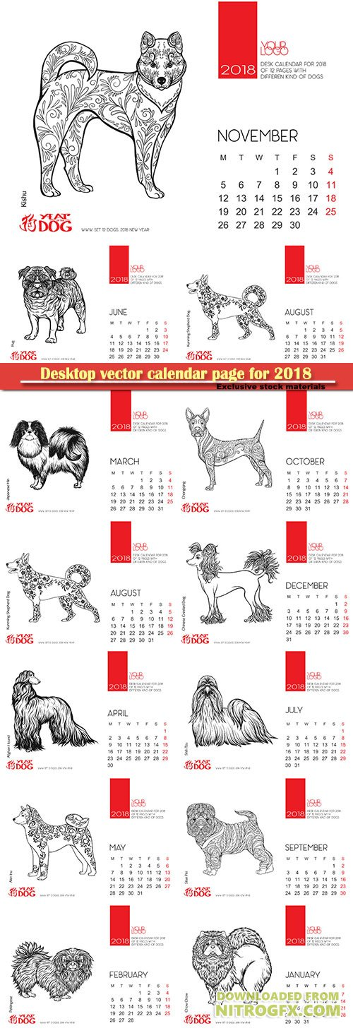 Desktop vector calendar page for 2018 with the image of a dog