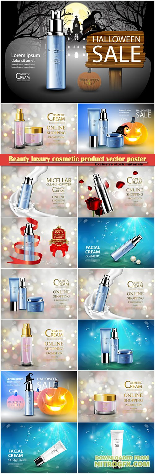 Beauty luxury cosmetic product vector poster