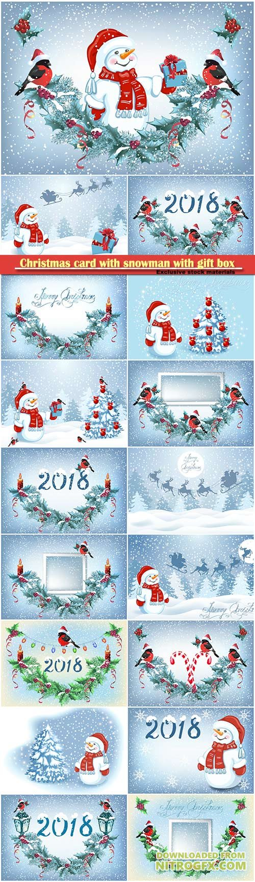 Christmas card with snowman with gift box and decorative garland with funny bullfinches