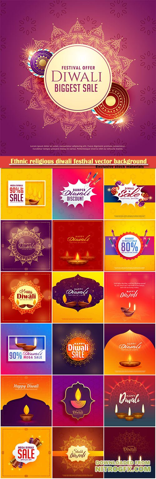 Ethnic religious diwali festival vector background with diya lamp