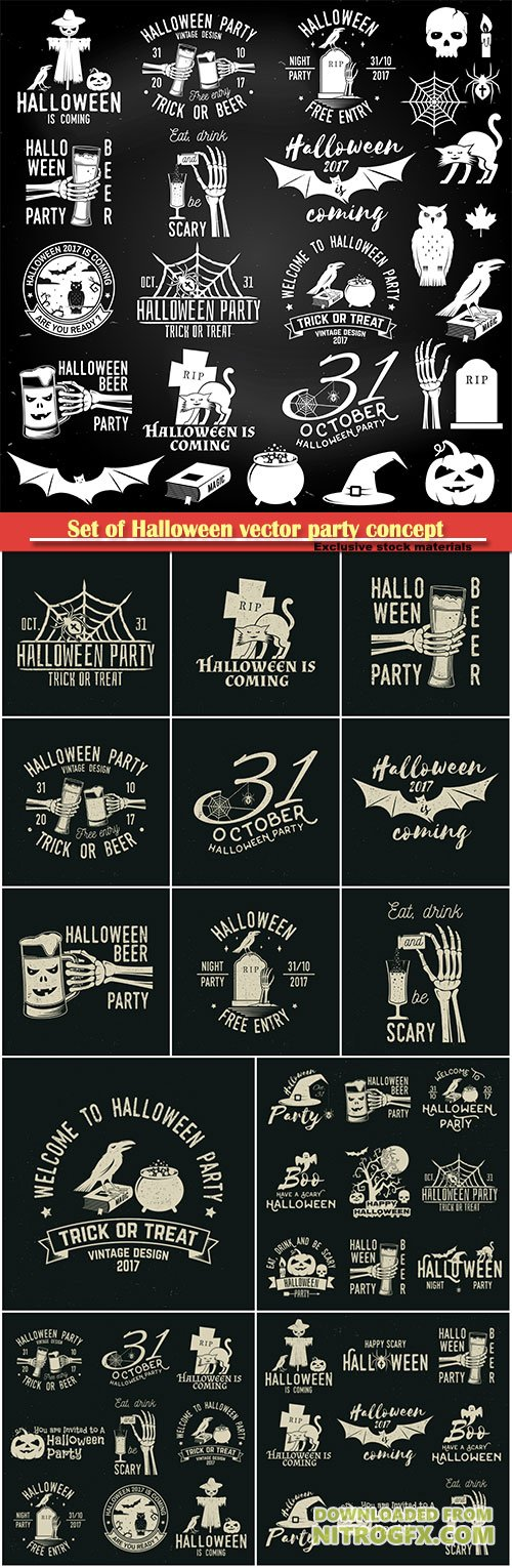 Set of Halloween vector party concept, party retro templates, badges, seals, patches with design elements