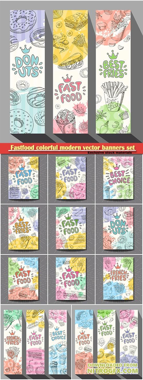 Fastfood colorful modern vector banners set