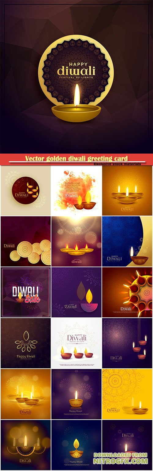 Vector golden diwali greeting card design with diya lamp
