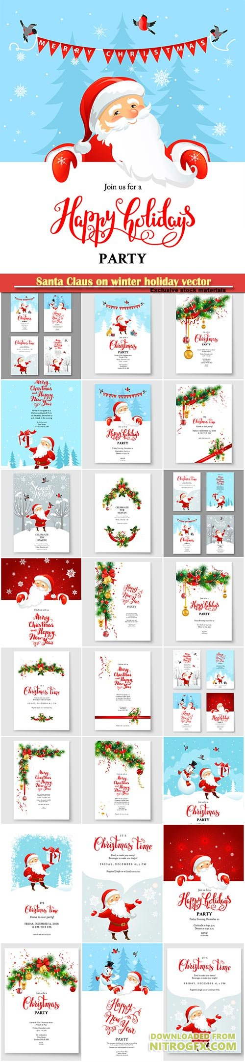 Santa Claus on winter holiday vector invitation, Christmas sample for banners, advertising, leaflet, cards