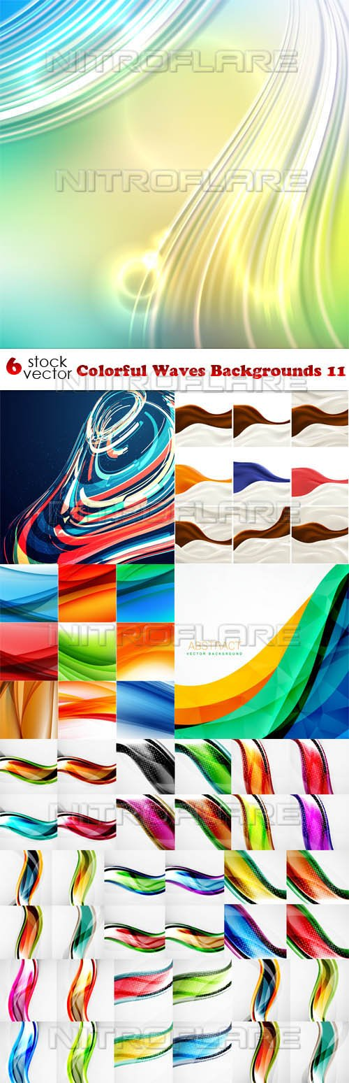 Vectors - Colorful Waves Backgrounds 11