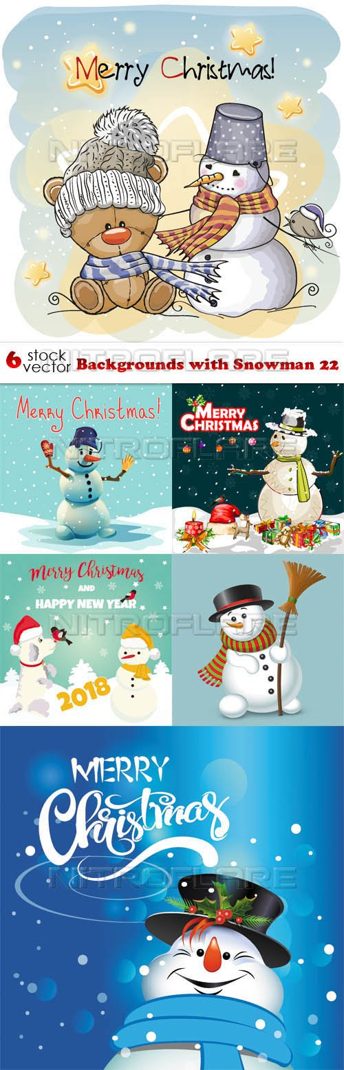 Vectors - Backgrounds with Snowman 22