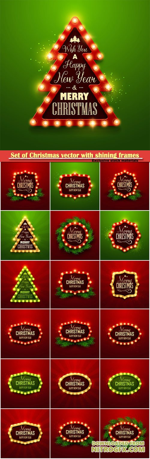 Set of Christmas vector with shining frames