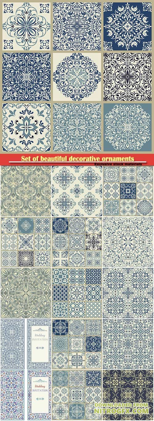 Set of beautiful decorative ornaments and patterns in a vector