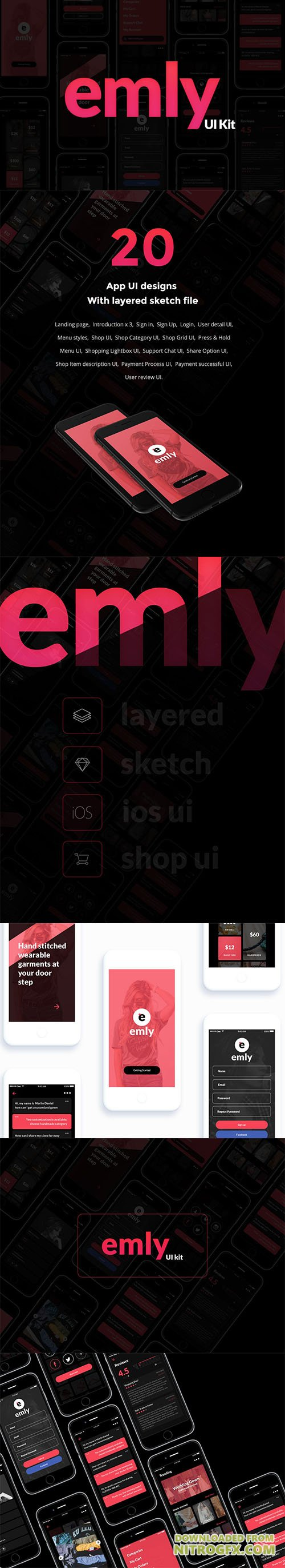 Emly Creative Shopping App UI Sketch Template
