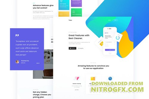 Faster - App Landing Page PSD Template