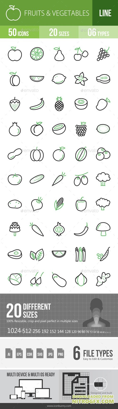 Fruits & Vegetables Line Green & Black Icons 15562872