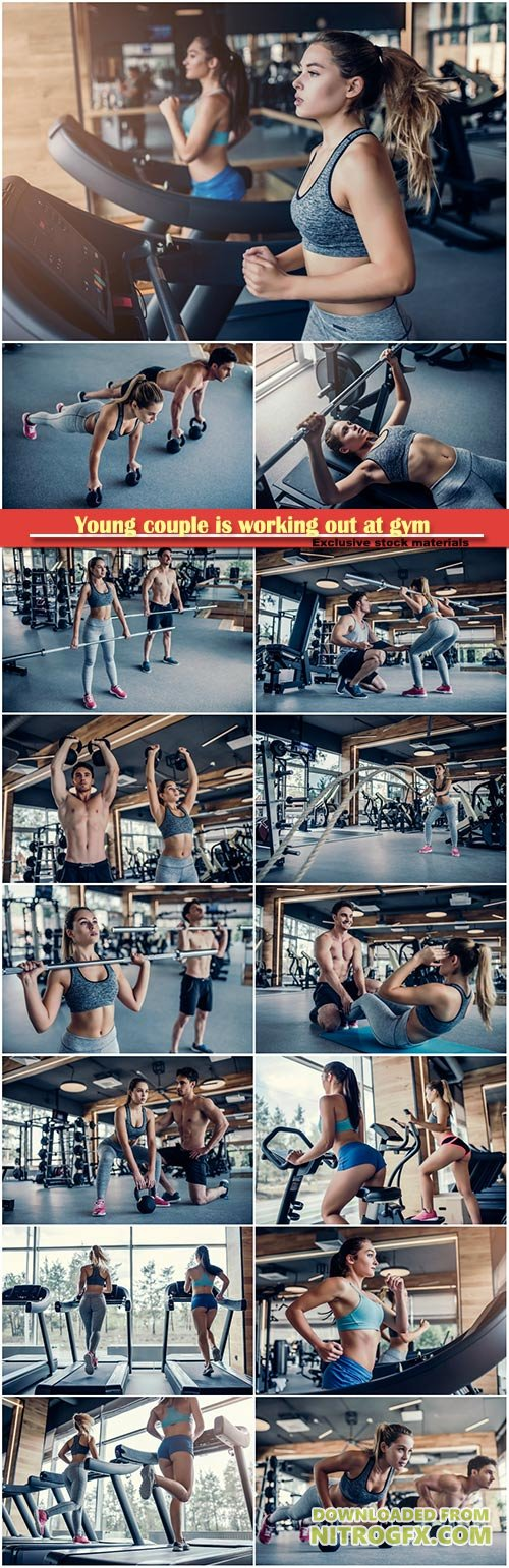 Young couple is working out at gym, handsome muscular man trainer