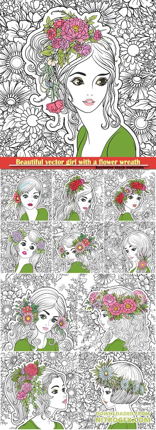 Beautiful vector girl with a flower wreath on his head