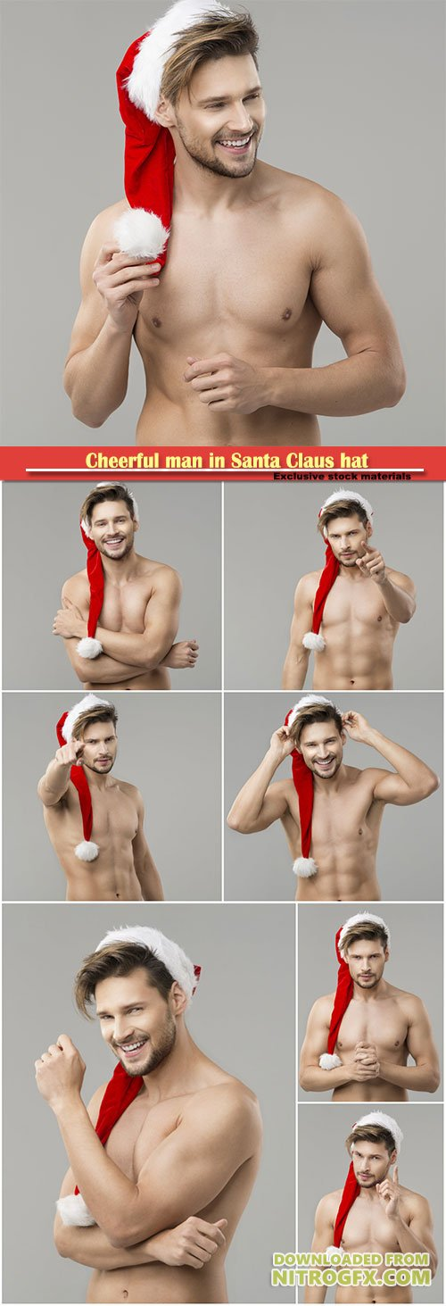 Cheerful man in Santa Claus hat