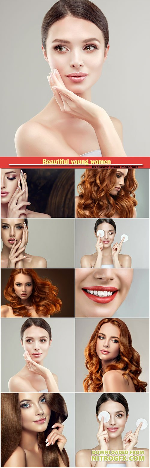 Beautiful young women, make-up and skin care