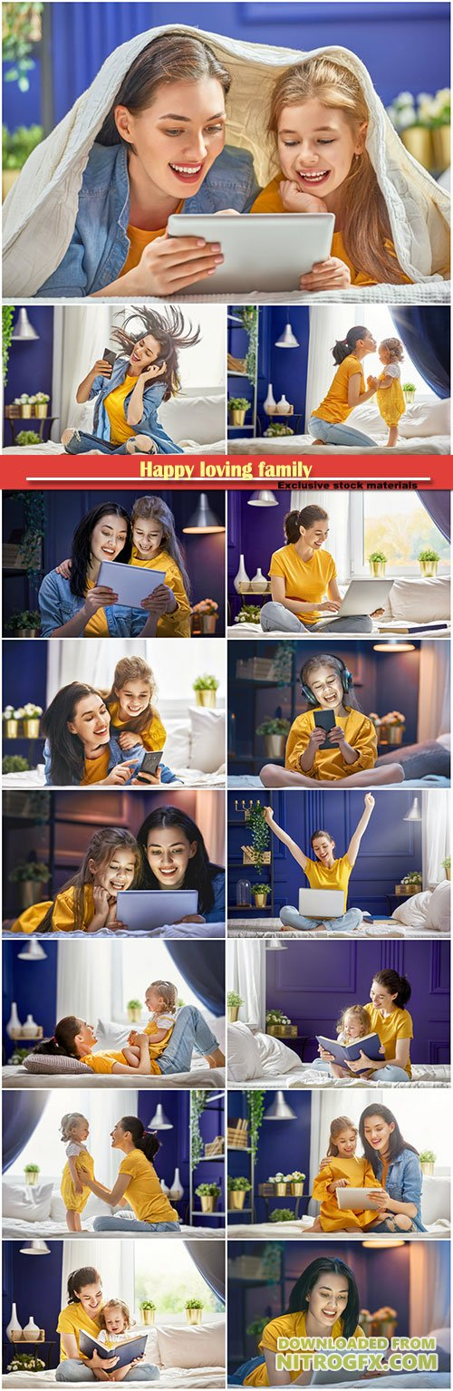 Happy loving family, mother and her daughter girl are playing with tablet