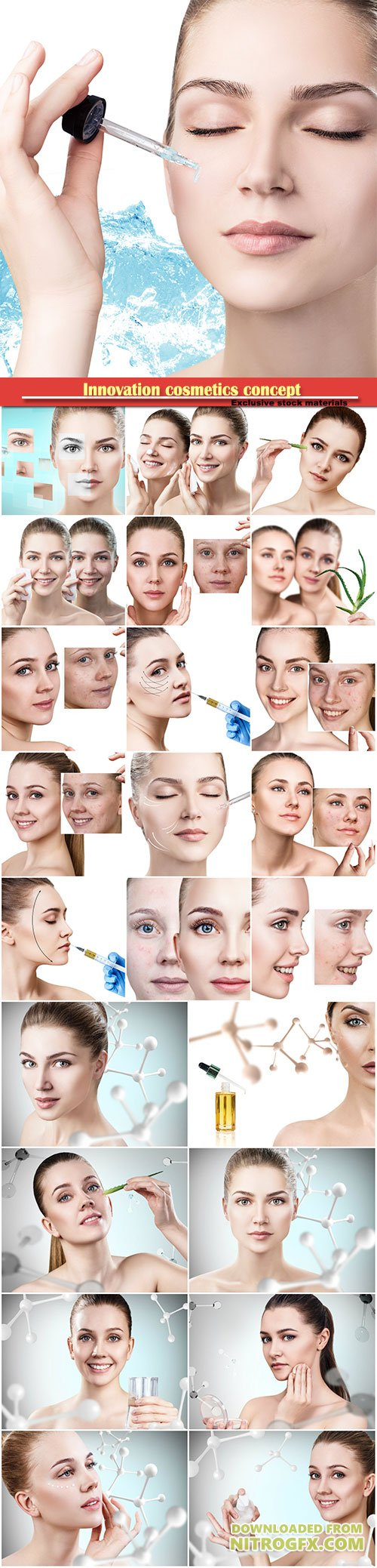 Innovation cosmetics concept, young woman cleanses skin
