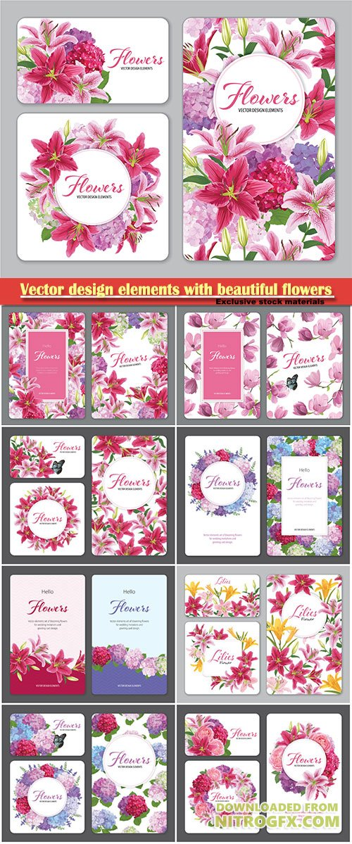 Vector design elements with beautiful flowers