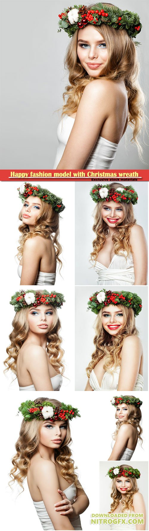 Happy fashion model with Christmas or New Year wreath