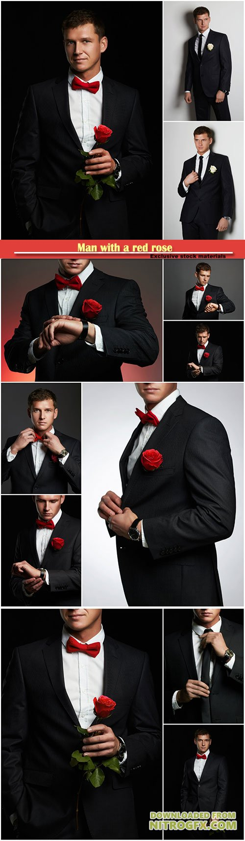Man with a red rose, a bridegroom in a black suit