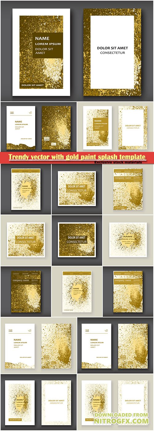 Trendy vector with gold paint splash template for flyer