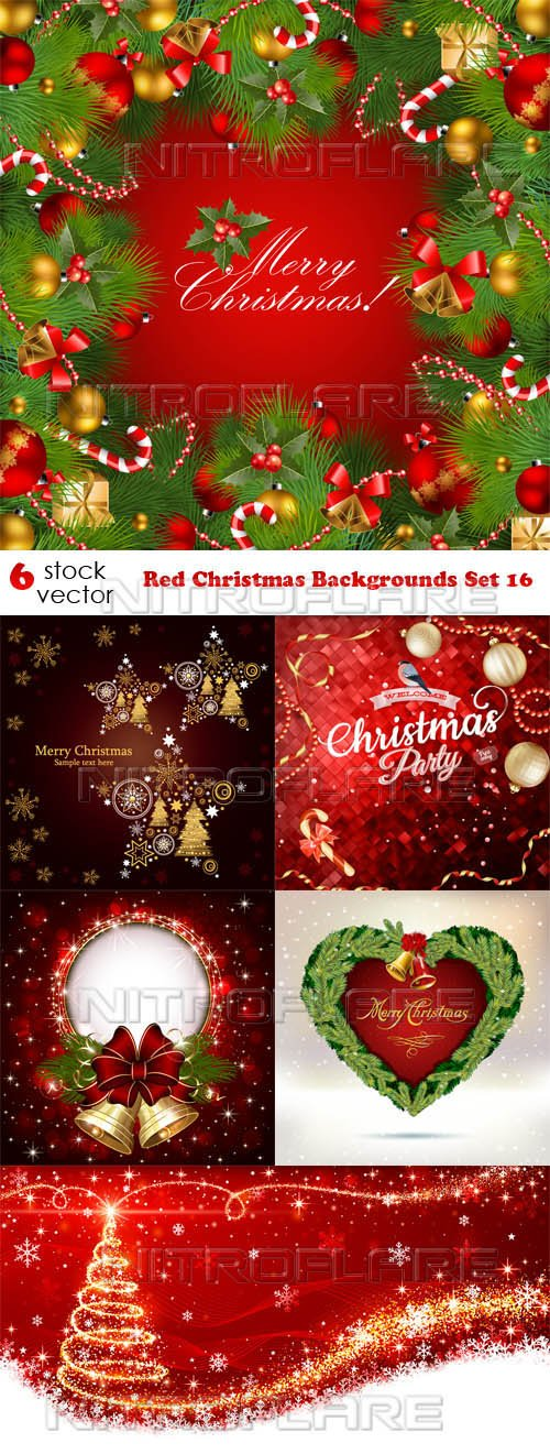 Vectors - Red Christmas Backgrounds Set 16