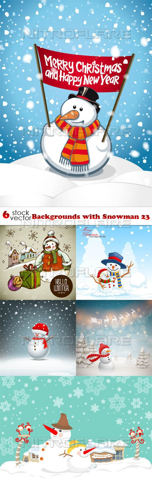 Vectors - Backgrounds with Snowman 23