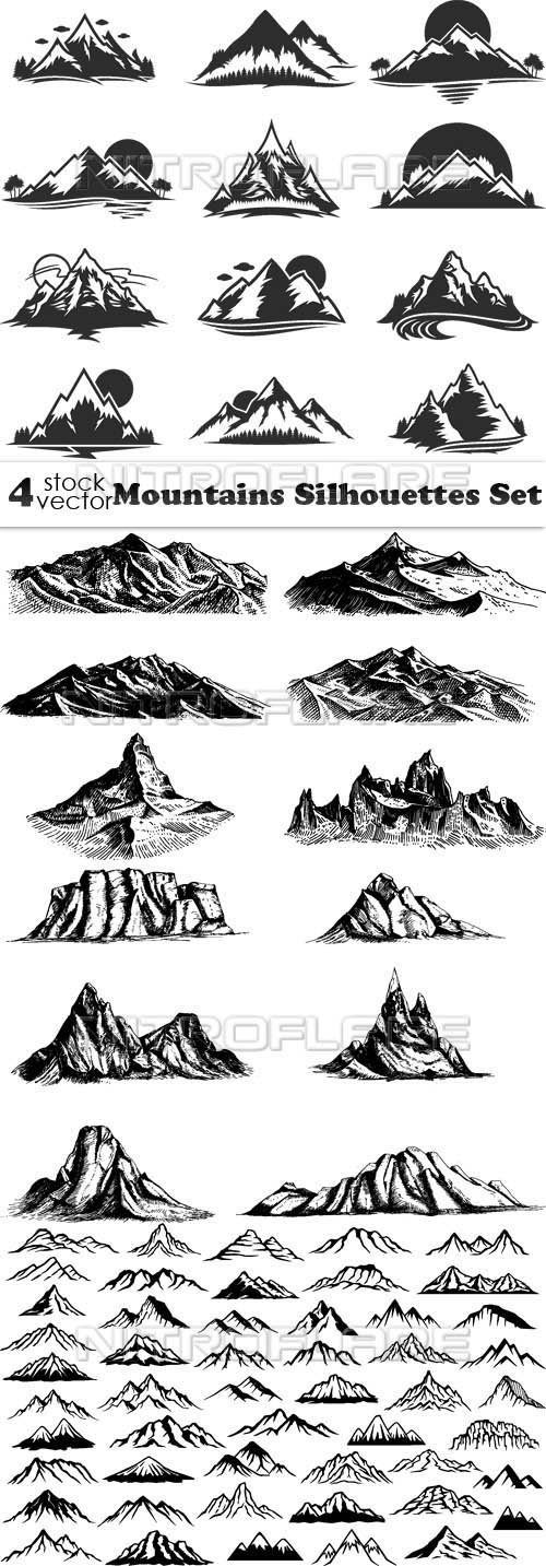 Vectors - Mountains Silhouettes Set