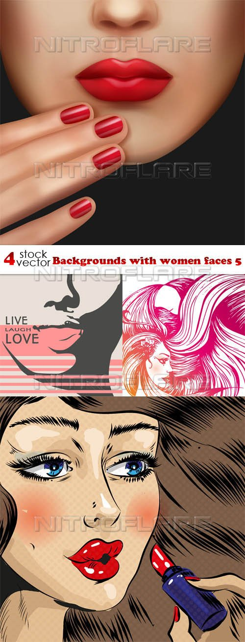 Vectors - Backgrounds with women faces 5