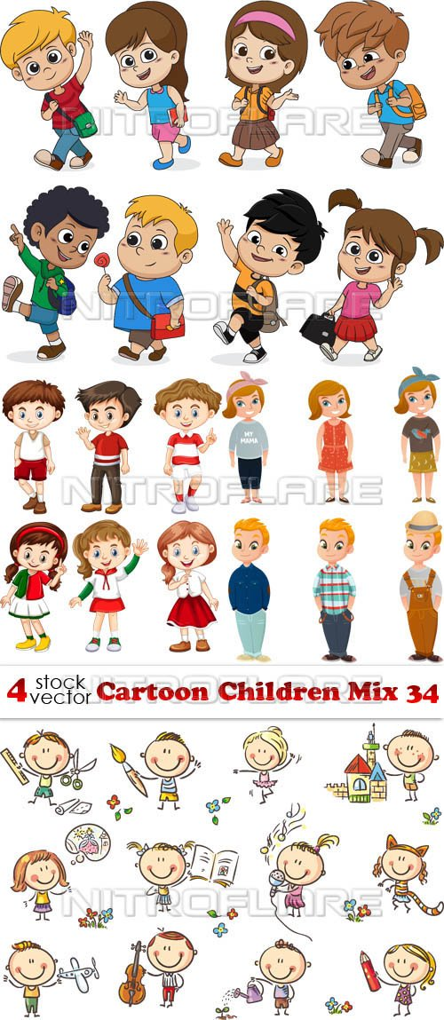 Vectors - Cartoon Children Mix 34