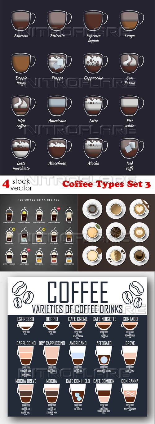 Vectors - Coffee Types Set 3