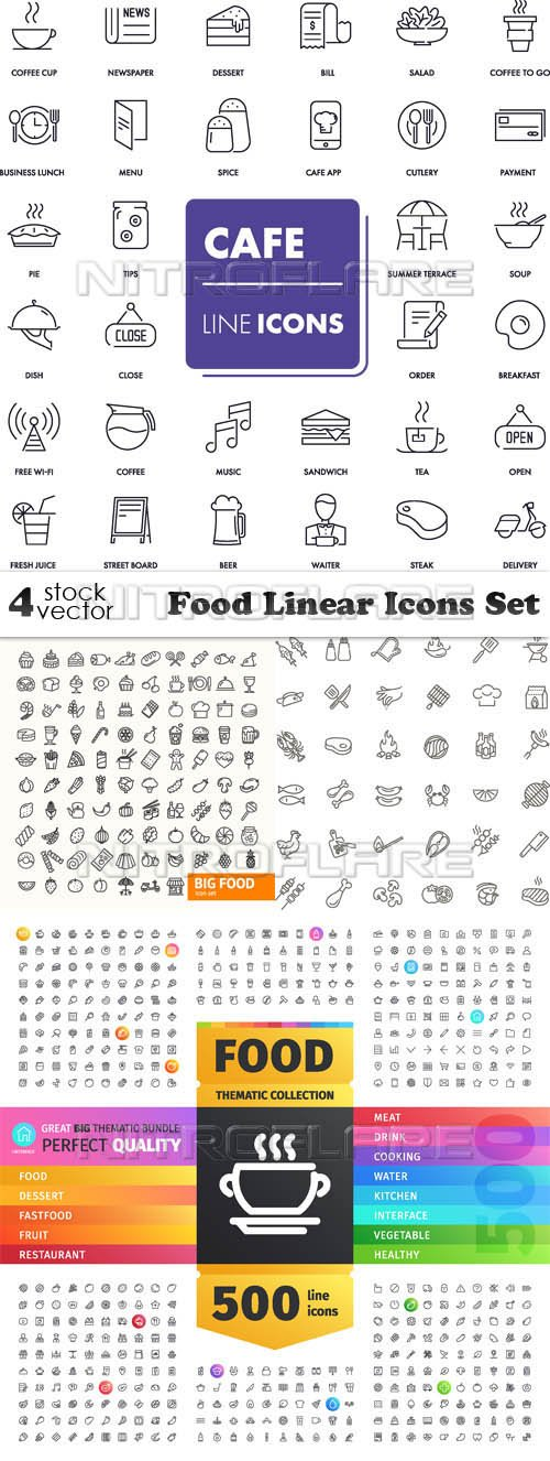 Vectors - Food Linear Icons Set