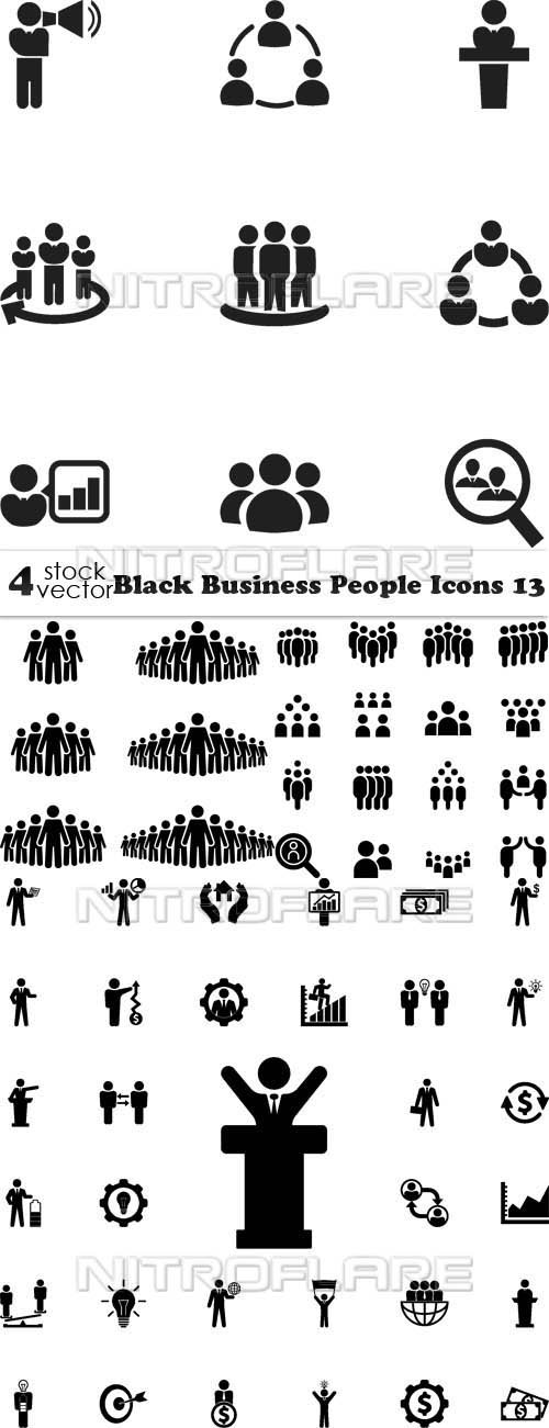 Vectors - Black Business People Icons 13