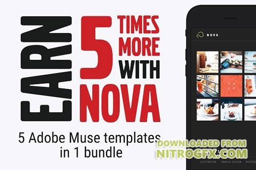 Nova. Adobe Muse Template ( 5 in 1 ) - CM 974873