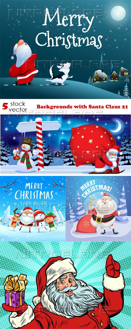 Vectors - Backgrounds with Santa Claus 21