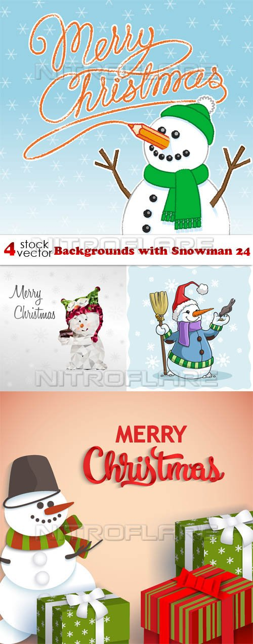 Vectors - Backgrounds with Snowman 24