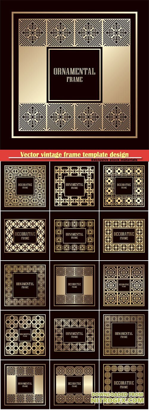 Vector vintage frame template design