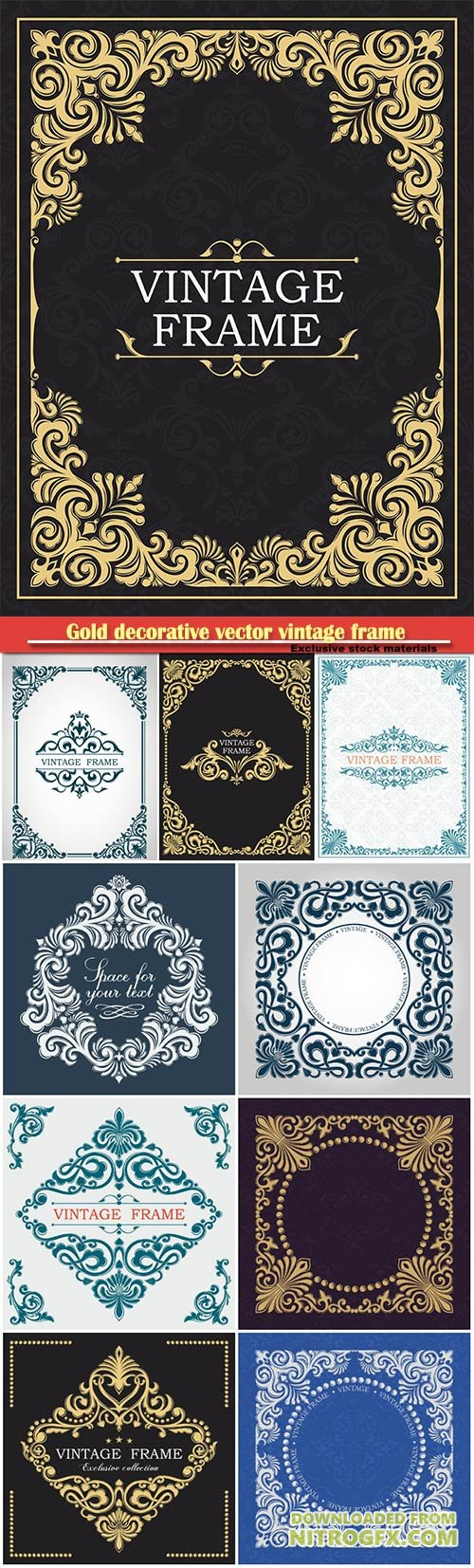 Gold decorative vector vintage frame, monogram, luxurious template
