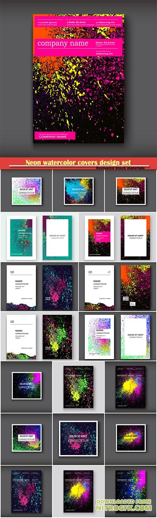 Neon watercolor covers design set, flyer, business card