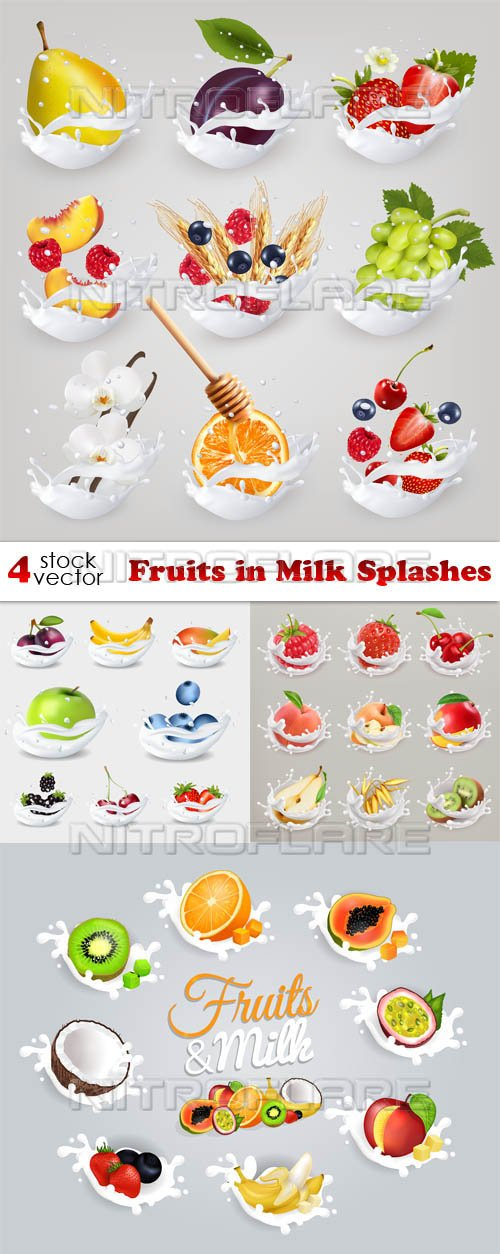 Vectors - Fruits in Milk Splashes