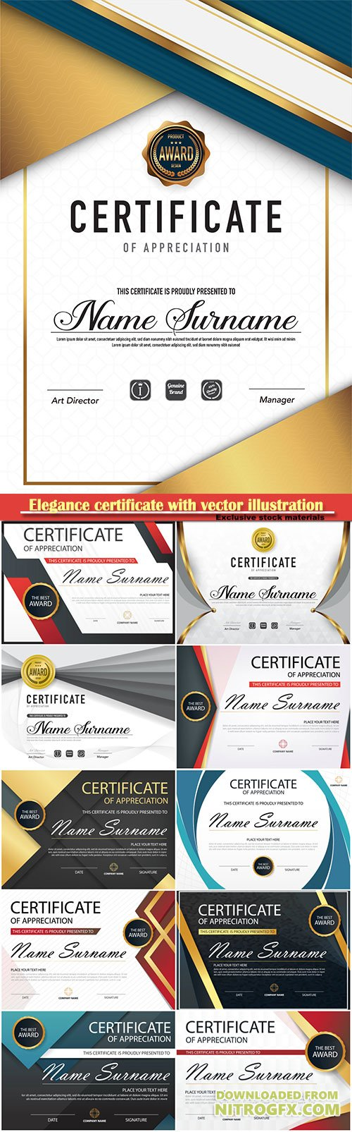 Elegance modern certificate with vector illustration