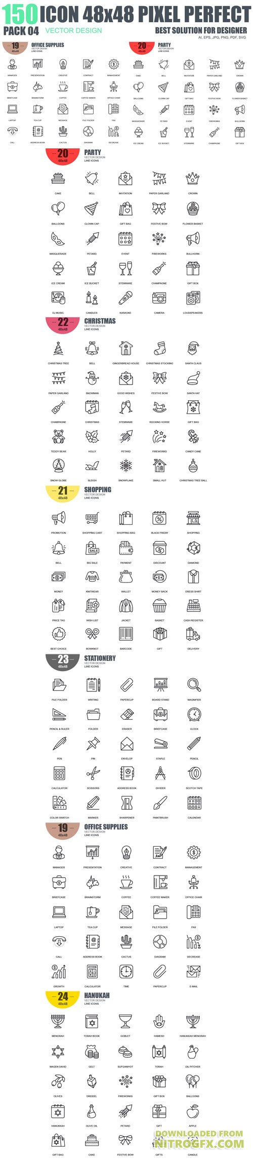 150 Line Icons Pack 4