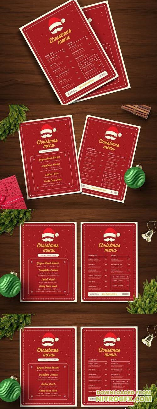 Christmas menu with Santa Hat and Moustache