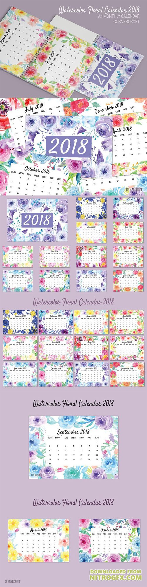 Watercolor Floral Calendar 2018 2047809